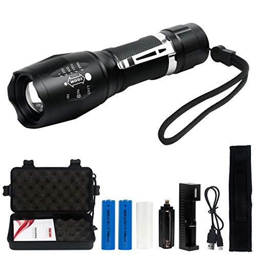 Linterna LED Recargable 1200Lumen Alta Potencia T6 de enfoque ajustable portátil resistente al agua Camping linterna 5 Modo de luz, 2 x Batería incluidas,Carga USB