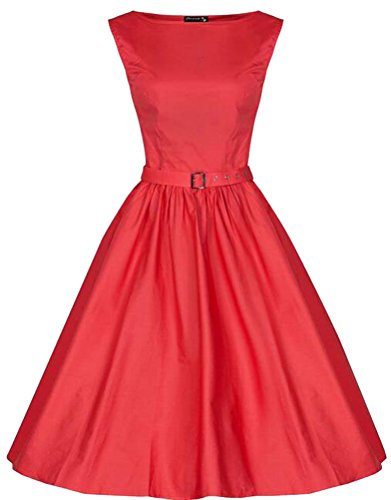 MILEEO 2016 Version2.0 Vintage 1950's Audrey Hepburn robe de soirée cocktail, bal style années 50 Rockabilly Swing Rouge