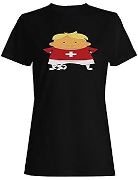 Suiza jugador fútbol divertido camiseta de las mujeres h115f