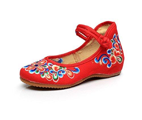 Lazutom - Merceditas para mujer, color rojo, talla 39 EU