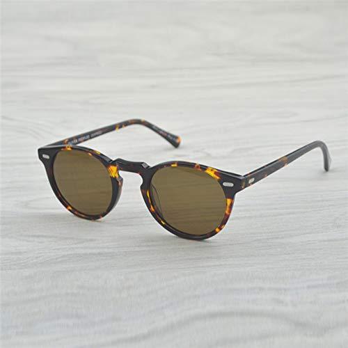 LKVNHP Neue Hochwertige Vintage Polarisierte Linse Sonnenbrille Gregory Peck Markendesigner Männer Frauen Sonnenbrille Retro Sonnenbrille Gafas OculosVs Braun 47