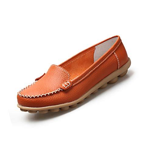 Frauen Schuhe echte Leder-Solid-Slip auf Bootsschuhen Wohnungen Schuhe Loafer Frauen-Wohnungen gelegenheitsschuhe (Simpson Schuhe Jessica Wohnungen)