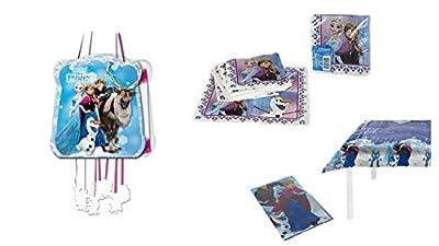 ALMACENESADAN 1128, Pack decoración Fiesta y cumpleaños Disney Frozen; Compuesto por piñata, Mantel de Fiesta de plástico 120x180 cm y Pack de 16 servilletas por ALMACENESADAN