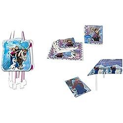 ALMACENESADAN 1128, Pack decoración Fiesta y cumpleaños Disney Frozen; Compuesto por piñata, Mantel de Fiesta de plástico 120x180 cm y Pack de 16 servilletas