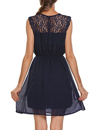 Zeagoo Damen Chiffonkleid Sommerkleider Elegant Party Cocktailkleid Abendkleid Spitzen Kleid Ärmellos A Linie Blau