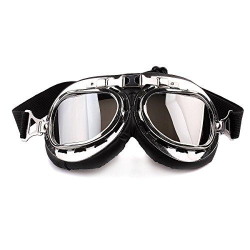 HugeStore Snowmobile Skibrille Gletscherbrille Schutzbrille Motorradbrillen Fliegerbrille Schneebrille Radsportbrille Silber