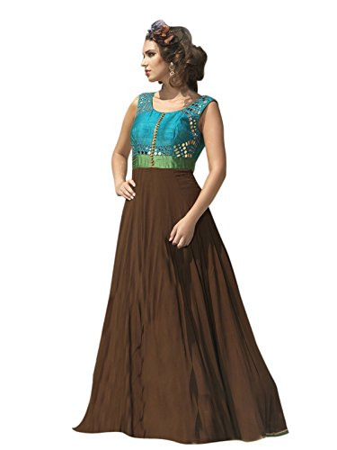 Varayu Women's Georgette Plain Brown Party Wear Salwar Suit