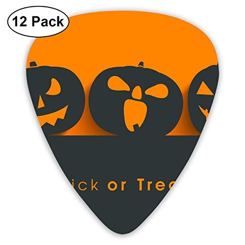 Custom Guitar Picks, Halloween Pumpkin Silhouette Trick Or Treat Guitar Pick,Jewelry Gift For Guitar Lover,12 Pack
