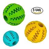 Pelota dental para perros y gatos, resistente y no tóxica. Juego de 3 bolas interactivas dispensadoras de comida. Juguete de goma dura para masticar, limpiar los dientes, jugar, entrenar y adiestrar