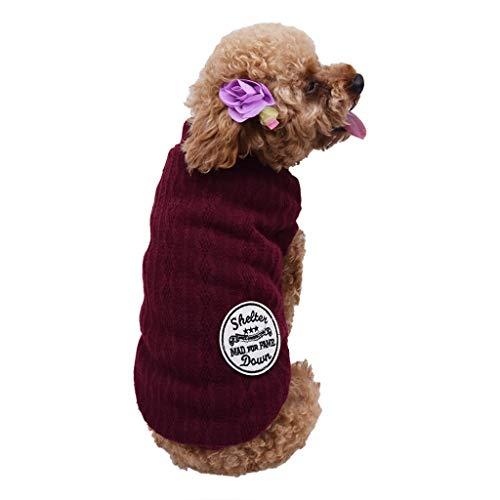 Hundebekleidung Hundekostüm, Hawkimin Warme Hundepullover Sweatshirt, Sweater Gestrickter Pullover für Kleine Hunde, Hunde/Katzenpullover Winterjacke Hundekleidung Warm Herbst Winter -