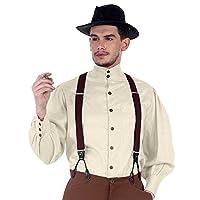 ThePirateDressing Steampunk Victorian Gothic Punk Vampire Seigneur Gentlemen Shirt Costume C1292 [Off White] [Medium]