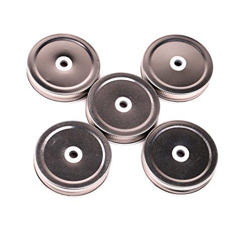 Ihju Steel Mason Jar Lids, regular bocca con struttura in plastica riutilizzabili paglia fori (5pezzi)