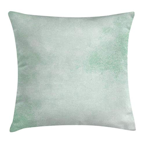 Mint Throw Pillow Cushion Cover by Ambesonne, Blurry Abstract Background Shady Pastel Toned Artful Modern Watercolor Murky Image, Decorative Square Accent Pillow Case, 18 X 18 Inches, Almond Green -