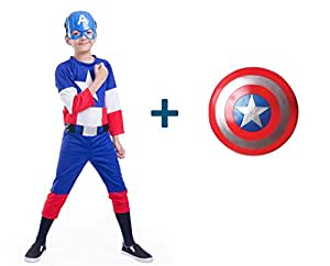 Fancydresswale Captain America dress for kids with mask and Shield (3-4 Years)