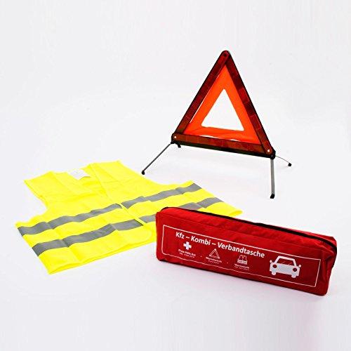 Preisvergleich Produktbild KFZ-Kombi-Verbandtasche nach aktueller DIN 13164 | inkl. Warnweste und Warndreieck nach StVZO und EU-Norm