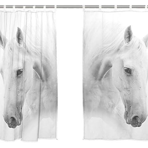 jstel 2Pcs Voile Fenster Vorhang, Kunst weiß Pferd, Tüll Sheer Vorhang Tuch Querbehang 139,7x 198,1cm Zwei scheibenelementen Set