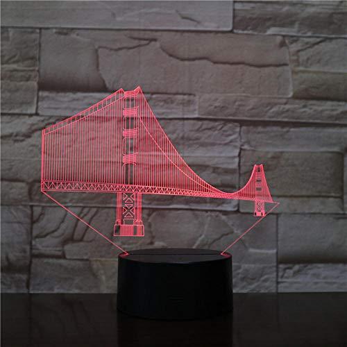 LED Nachtlicht,3D Illusion Lampe Optische Tischlampe 7 Farben Berührungsschalter Fernbedienung USB-Kabel Nachtlampe dekoratives, Golden Gate Bridge,Kinder Geburtstag Weihnachtsgeschenk - Geburtstag Kinder-goldenen
