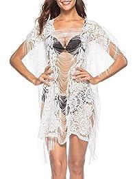 Bikini Cover Up Mujer Primavera Verano Frock Coat Hueco Color Sólido Borlas Encaje Manga Corta Beach