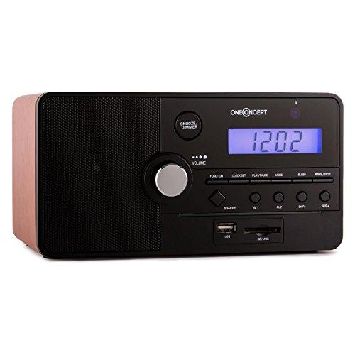 oneConcept Luzern - Brown Edition, UKW-Radio mit Weckfunktion, Multi-Mediaplayer: SD, USB, AUX, Sleep-Timer, 30 Senderspeicherplätze, Lautsprecher, mitgelieferte Fernbedienung, braun-schwarz
