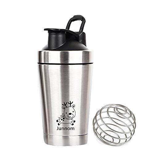Junnom Edelstahl Shaker Tasse, Doppelte Verkupferte Isolierung Cup Car Cup Outdoor Sports Kaffeetasse Milkshake Shaker Flasche Auslaufsichere Travel Becher mit Shaking Ball (500ml) -