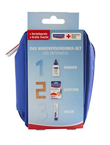 Hansaplast Wundversorgungs-Set, praktisches Set für Unterwegs, in 3 Schritten zur schnellen Wundheilung mit Wundspray, Wundpflaster und Wundheilsalbe -