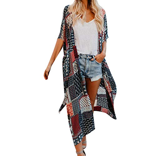 Damen Blumendruck Chiffon Kimono Cardigan Top Lose Schal Bikini Cover up Strandponcho Vintage Vertuschen Bluse Elegant -