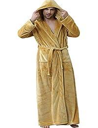 9e057c79cf Mens Dressing Gown with Hood Long Fleece Solf Bathrobe Loungewear Housecoat