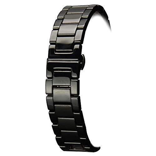 18mm Keramik-Armband-Uhrenarmband Band Faltschließe schwarz Keramik Uhrenarmband Schnellspanner (Keramik-uhr-band Weiße 20mm)