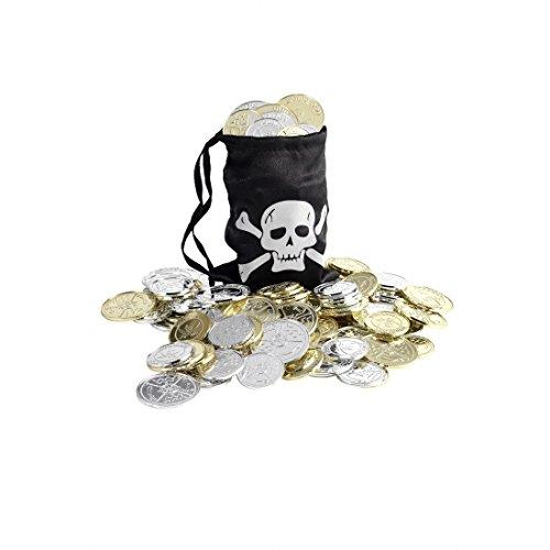 Piraten Tasche Münze (Piratenschatz Beutel Piraten Geldsack mit Münzen Totenkopf Schatzbeutel Tasche mit Goldmünzen und Silbermünzen Piratenparty Accessoires Mottoparty Deko Partydeko)