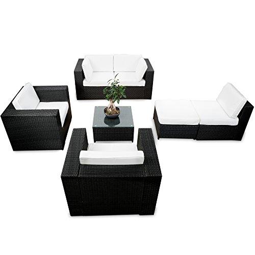 XXL Polyrattan Garten Lounge Möbel Ecksofa   Schwarz   Gartenmöbel  Sitzgruppe ...