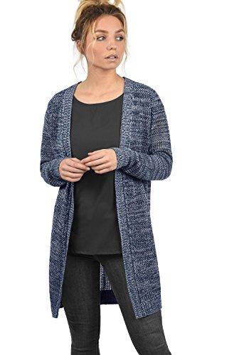 DESIRES Lia Damen Lange Strickjacke Lochstrick Cardigan Strickcardigan MIt Offenem V-Ausschnitt Aus 100% Baumwolle Loose Fit, Größe:S, Farbe:Insignia Blue Melange (8991)