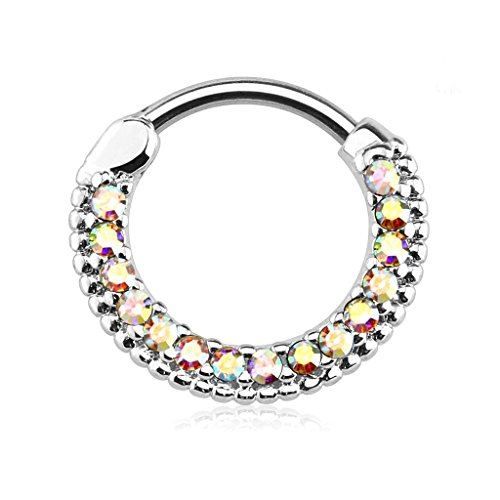 Forbidden Body Jewelry - Cubic Zirconia Crystal Septum and Cartilage Piercing Ring with Rounded Top of 16 g and 10 mm