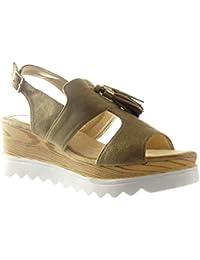 Angkorly Chaussure Mode Sandale Plateforme Ouverte Femme Frange Pom-Pom  Bois Talon Compensé Plateforme 6.5 e8f246303ecc