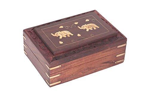 IndiaBigShop Merci de Donner Un Cadeau pour Vos Amoureux Boîte à Bijoux Double Elephant Box Vintage Carving Box