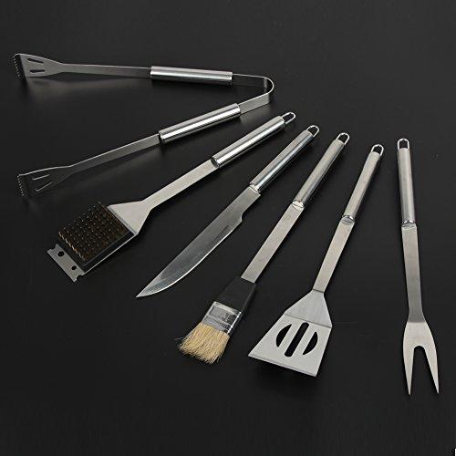 414r3863kwL - Dazone® Grillbesteck-Set 6-teilig im Aluminium-Koffer BBQ Grill-Utensilien Edelstahl Profi Besteck Zubehör fürs Grillen