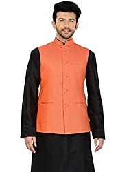 Manyavar Orange Nehru Jacket (Medium)