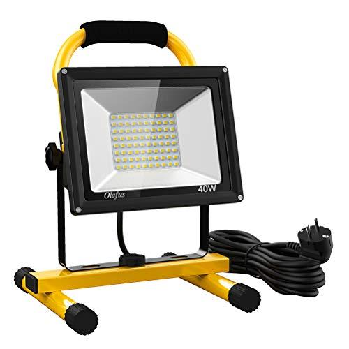 40w Art (Olafus 40W 4000LM LED Baustrahler, 2 Helligkeitsmodi IP65 Wasserdicht LED Arbeitsleuchte Bauscheinwerfer, 5000K Tageslichtweiß Arbeitsscheinwerfer Strahler Fluter für Werkstatt, Baustelle, Garage)