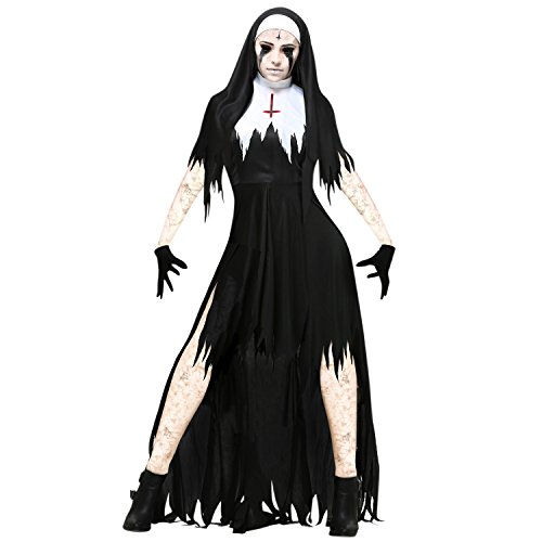 (Eagerness Damen Kostüm Vampir Priesterin Hexe Cosplay Themaparty Abendkleid Dress up)