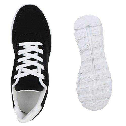 Damen Schuhe Laufschuhe Sneaker Runners Profilsohle Schwarz Carlton