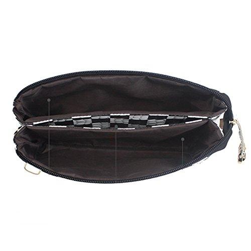 GSPStyle Borsa da donna con fibbia borsetta, borsa a tracolla, pochette Multicolore (Bianco/Nero)
