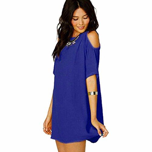 QIYUN.Z Femmes Solides Mousseline Off Epaule Filles De La Mode Couleur D'Ete Robe De Changement A Court Bleu Royal