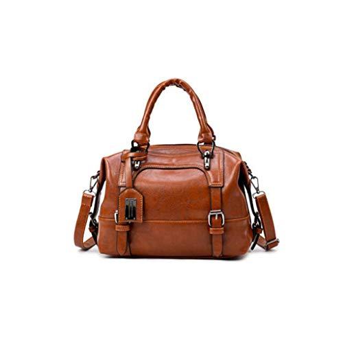 YANHUA Women es Vintage Oil Wax Leather Tote Bag Joker Shoulder Bag Messenger Bag