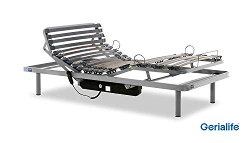 Gerialife® Cama Articulada Eléctrica Reforzada (105x190, Plateado)