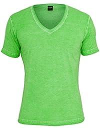 Urban Classics Herren T-Shirt Spray Dye V-Neck Tee