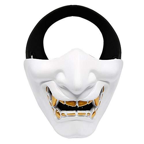 FOONEE Halbmaske, Halloween-Kostüm, Cosplay, BB Evil Demon Monster Kabuki Samurai Hannya Oni Halbe Abdeckung Airsoft und Prop Maske – Einheitsgröße Passt den ()