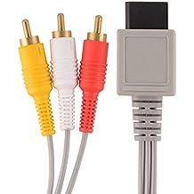 Link-e : Cable AV (Audio/Video) RCA 1,80m Avec Connecteurs Plaqués Or Compatible Avec La Console Nintendo Wii et Wii-u