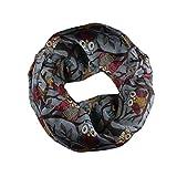 GreatestPAK Loop Schal Liebhaber Schal Owl Pattern Schal Zip Pocket Schal,Grau