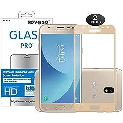 Novago Compatible avec Samsung Galaxy J3 2017 J3 Pro J330 -Lot de 2 Films Protection écran en Verre trempé résistant Couvre la totalité de l'écran (Dore)