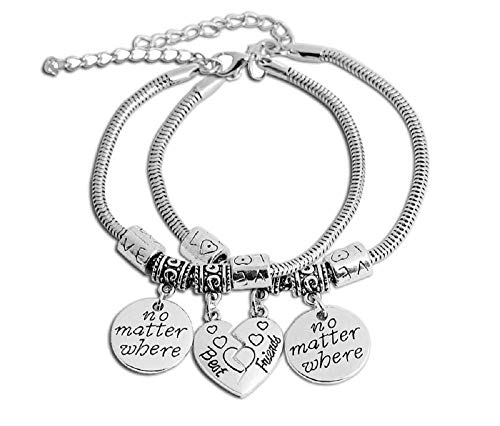 Imagen de dos pulseras  pulseras  motivación  colgante  mejores amigos  no importa dónde  hombres  mujeres  unisex  color plata  idea de regalo best friend