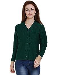 TAB91 Women's Green V Neck Designer Sweater